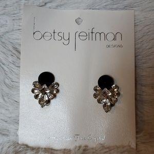 Vtg 80s Betsy Reifman austrian crystal earrings